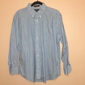 Nordstrom Trim Fit Non-Iron Blue Gingham Shirt